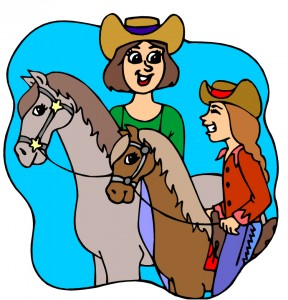 Mom daughter riding horses