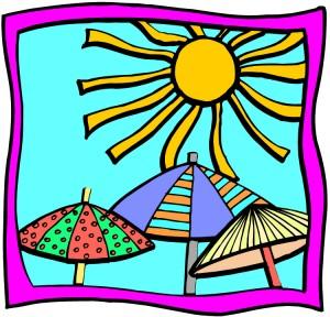 sun over umbrellas